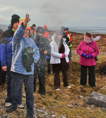 """Ruth Lynam scatters ashes to the winds on Knocknarea."" from simon3 Contract pics"