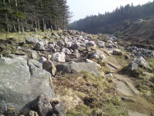 """The old Glen River track was under the boulders on the left - the new one is on the right"" from David Kirk Contract pics"