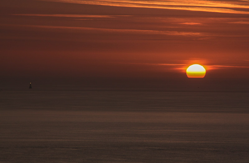 """Dawn and lighthouse from Killiney Hill."" from simon3 Contract pics"