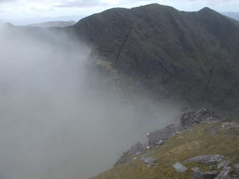 """The cleaving of the mist over the Beenkeragh ridge"" from Geo Contract pics"