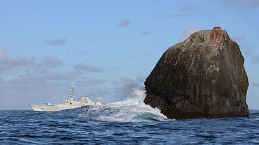 """The Irish Naval Service vessel Róisín at Rockall conducting routine maritime security patrols 230 nmi (430 km) off the north-west coast of Ireland"" from Fergalh Contract pics"