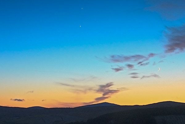 Planets, crescent moon and Croaghanmoira, Co Wicklow