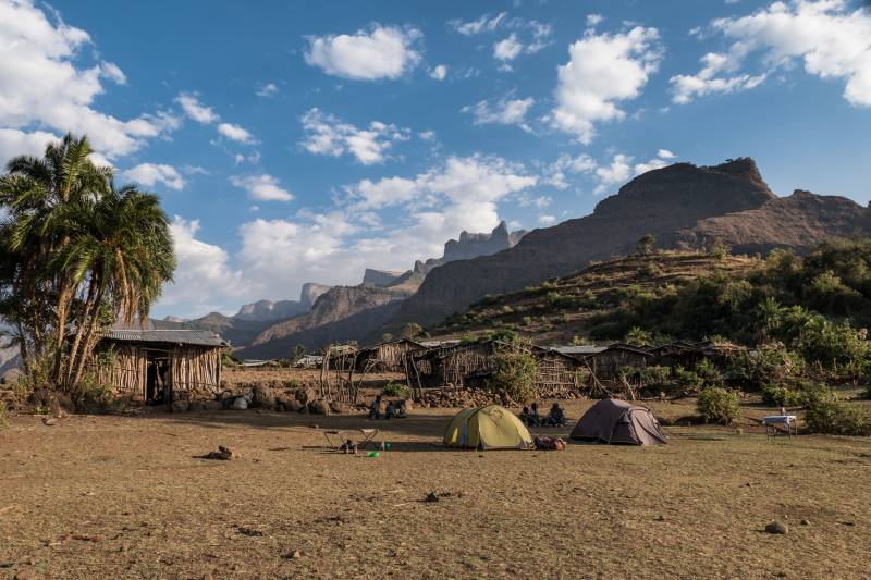 View of the Simien escarpment from Mekarebiya campsite