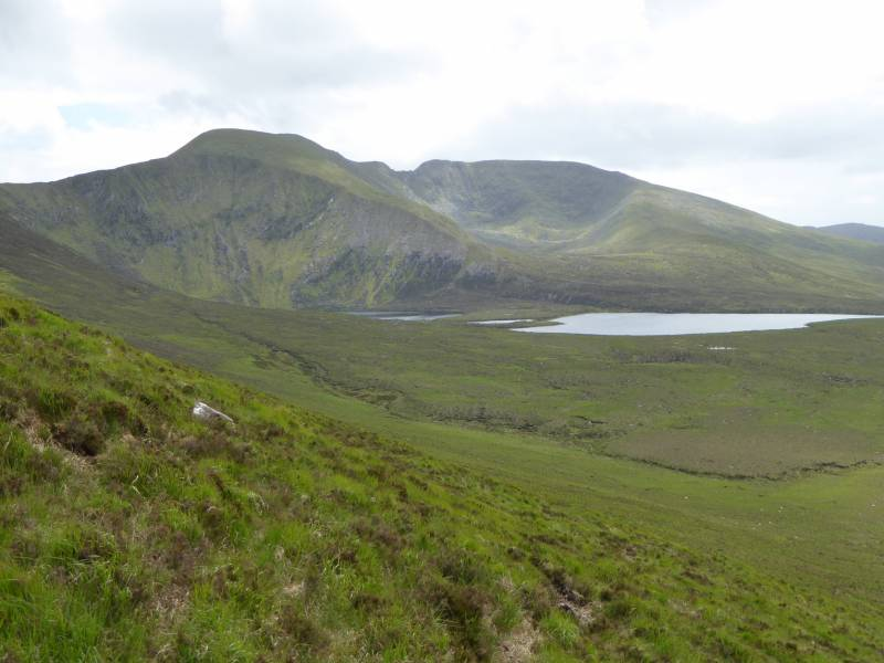 Corranabinnia, left and its SW top with the gap between